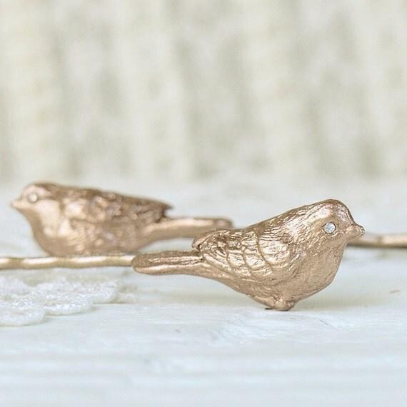 Hair Bobby Pins Beloved Birds in Golden Bronze