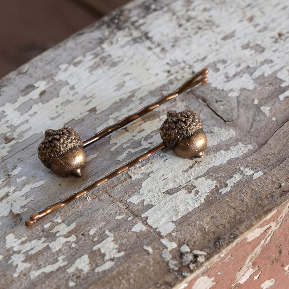 Acorn Bobby Hair Pins in Antique Bronze