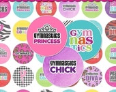 Gymnastics Digital Collage Sheet (No. 466) - 1 Inch Circles for Round Bottle Caps, Magnets, Hair Bow Centers, Stickers, and More