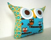Express shipping US and Canada/ blue olive Owl family owl pillow