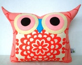 Christmas sale/Gift under 20 / Amy Butler Wall Flower fabric owl pillow/Ready to ship /express shipping