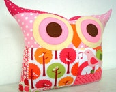 End of month SALE/PATCHWORK /summer bird owl pillow/Ready to ship
