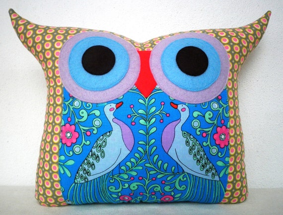 Gift under 20 super SALE  /Polyfil Stuffed Royal peacock Owl Pillow/ready to ship
