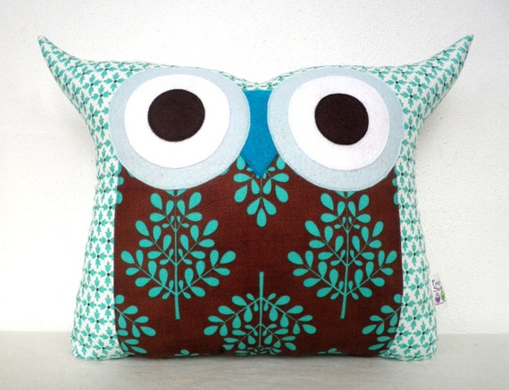 End of month SALE/ Polyfil Stuffed The Aqua ripple Owl Pillow/Ready to ship
