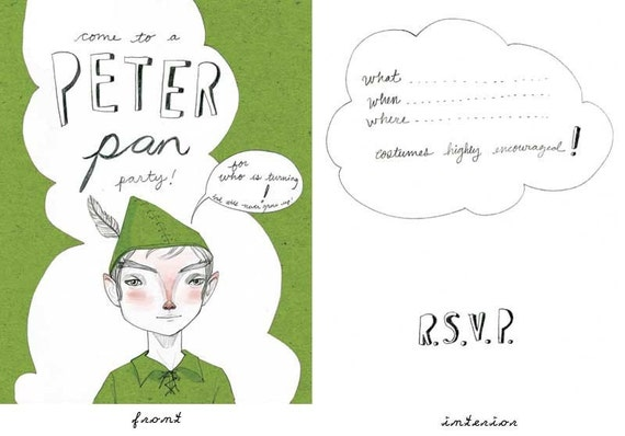 RESERVED for Stacy: Downloadable Peter Pan custom birthday party invites