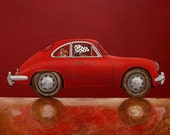 040 Porsche 356 red - folded art card 15x15cm/6x6inch with envelope
