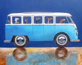161 VW Blue Hour - folded art card 15x15cm/6x6inch with envelope