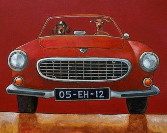 "131 Volvo P1800 red – print 21x21cm/8.5x8.5"""