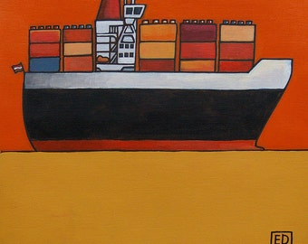 """129 Container ship – print 14x14cm/5.5x5.5"""""""