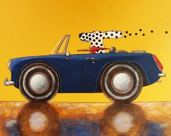 "017 Midget – dog driving print 14x14cm/5.5x5.5"""
