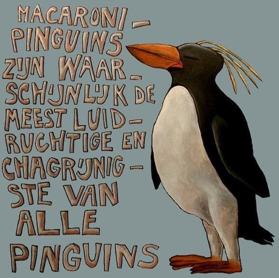 002 Macaroni Pinguin - folded art card 15x15cm/6x6inch with envelope