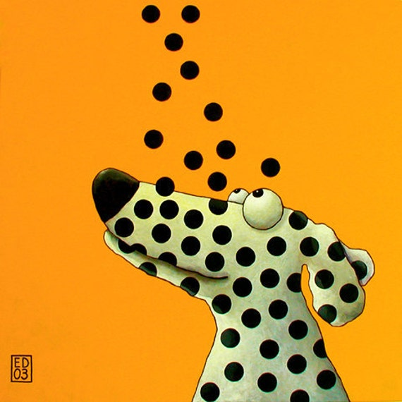 "109 Bouncing dots - print 27x27cm/10.5x10.5"""