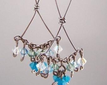 pure grade 1 titanium dangle earrings blue swarovski crystal for sensitive ears