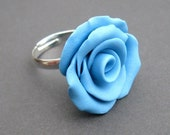 Summer Days Ring - Blue Polymer Clay Rose