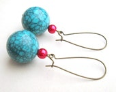 Rebel Earrings - Turquoise Vintage Lucite and Pink Pearl