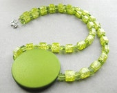 Lime Crush Necklace -Green Glass Beads, Disc Pendant