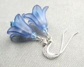 Feeling Blue Earrings - Flower, Crystal, Pearl, Silver