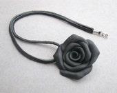 Ebony Rose Necklace - Black Polymer Clay Rose