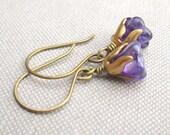 Violet Earrings - Purple Czech Glass Flowers & Brass Caps