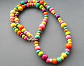 Rainbow Bubbles - Coloured Wooden Beaded Necklace