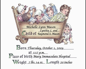 8.5x11 Old Fashioned Personalized Cradle Certificate