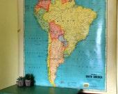 Vintage Cram's Pulldown South America School Map