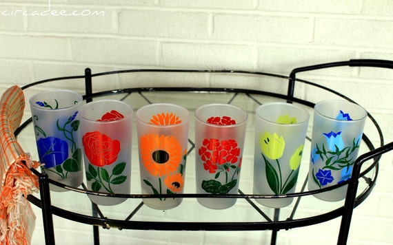 Vintage Flower Drinking Glasses - set of 6