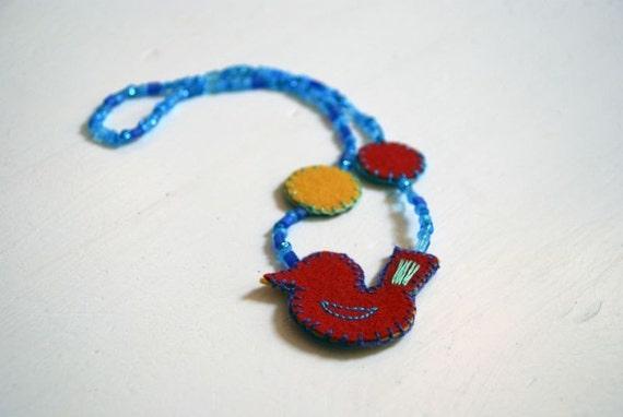 felt bird necklace