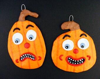 Halloween Set of Two Pumpkin Folk Art Ornaments published