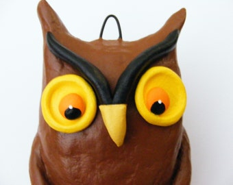 Vintage Style Halloween Owl Folk Art Ornament