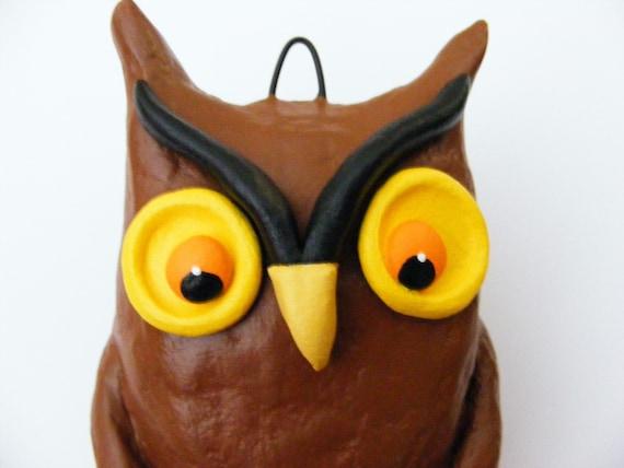 Vintage Style Halloween Owl Folk Art Ornament