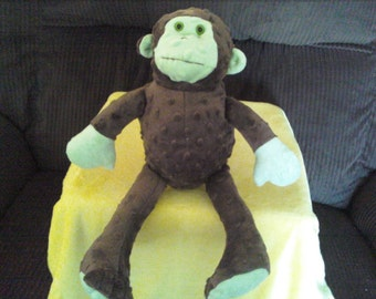 Minky Dot Brown and Green Monkey Soft Toy