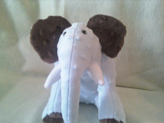 Powder Blue and Chocolate Minky Dot Elephant Soft Toy