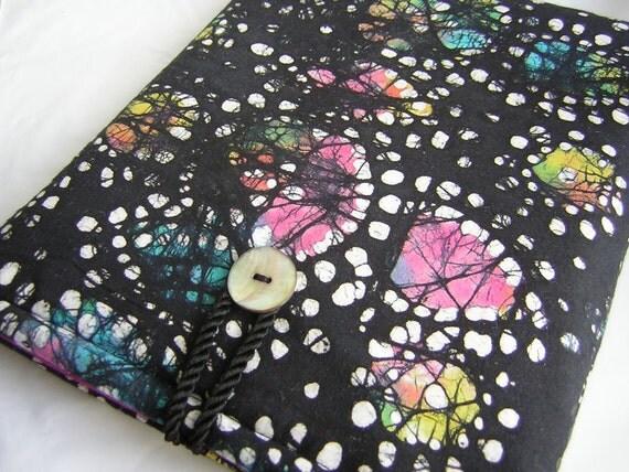 Colorful iPad Case, iPad sleeve, iPad cover, cases for ipads, ipad bag,  Black Violet Batik