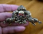 Skull crossbones pirate lover Salty Sea Dog MERMAID Jolly Roger Victorian repro brass pin pendant B-Skull-18