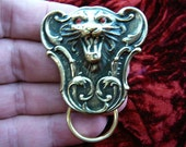 Lion head red eyes Victorian repro brass Eyeglass pin pendant ID badge holder E-405