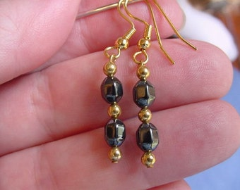 Black hematite faceted two bead gold wire dangle pair of EARRINGS EE-341