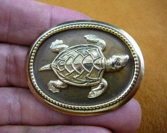 Sea turtle lover turtles love ocean turtles oval Victorian repro brass pin pendant B-Turt-355