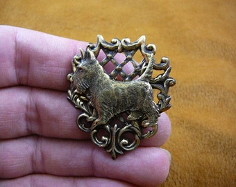 Scottish terrier pin brass brooch Scottie dog Westie B-Dog-251
