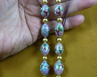 Pink Cloisonné Flower bead beaded Eyeglass Eye glass leash Chain holder gold necklace E66-144