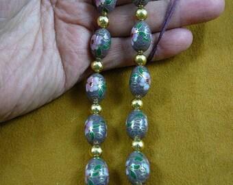 Mauve Cloisonné Flower bead beaded Eyeglass Eye glass leash Chain holder gold necklace E66-150