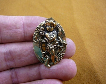 Angel cherub with flowers Victorian BRASS pin pendant brooch B-Ang-9-10