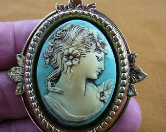 Exotic Lady Flowers Curlys in hair Cameo brass pin pendant cm31-41