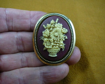 Bouquet of wild spring flowers in basket cameo pin pendant brass brooch cm46-21