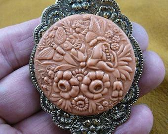 Butterflies and flowers summer spring butterfly flower garden orange CAMEO pin pendant brass brooch cm158-7