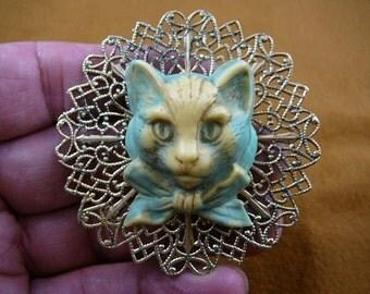 Kitten kitty cat head Blue CAMEO love cats lover brass Pin pendant Brooch jewelry CL52-20