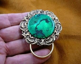 Green abalone New Zealand shell Paua brass Eyeglass pin pendant ID badge holder E-754