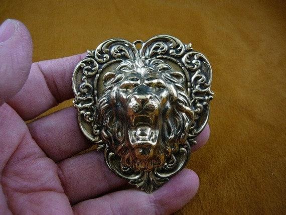 Roaring lion head lions love heart lover Victorian repro brass pin pendant B-Lion-602