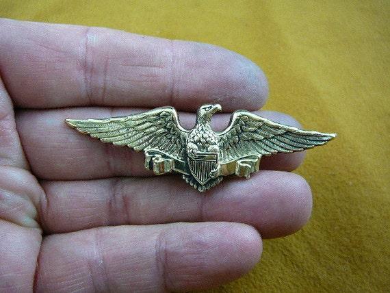 Bald eagle with Shield Military bird pin pendant eagles Victorian brass brooch B-BIRD-130