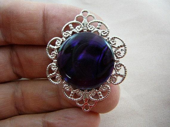 Purple paua sea shell abalone silver tone filigree pin brooch BR-23